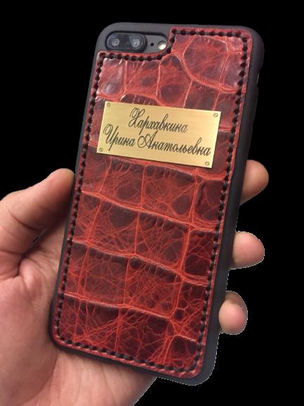 Кожаный чехол-накладка «Крокодил» с именной гравировкой на iPhone