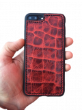 Кожаный чехол-накладка «Красный крокодил» на iPhone