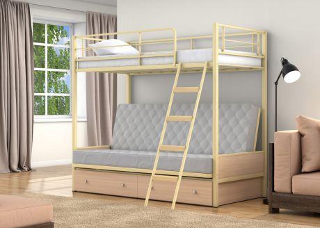 Двухъярусная кровать-диван Дакар 2 Слоновая кость ящики