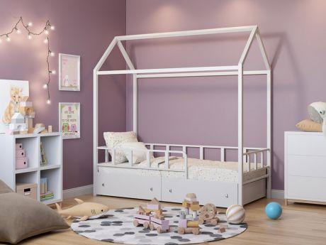 Кровать-домик Риччи Белый ящики
