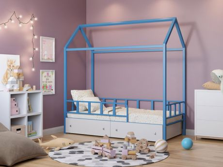 Кровать-домик Риччи Голубой ящики