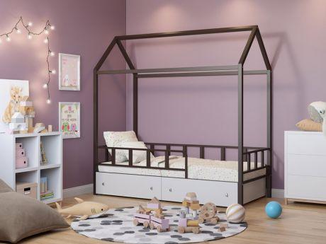 Кровать-домик Риччи Коричневый ящики