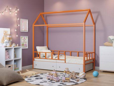 Кровать-домик Риччи Оранжевый ящики