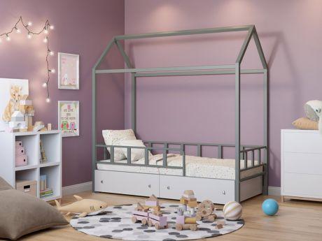 Кровать-домик Риччи Серый ящики