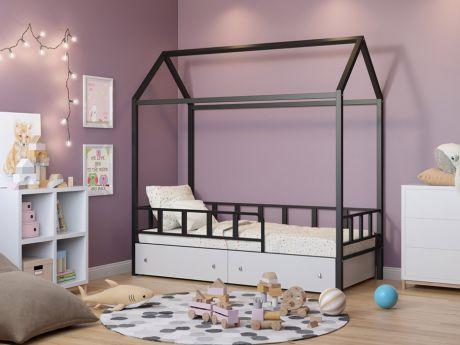 Кровать-домик Риччи Черный ящики