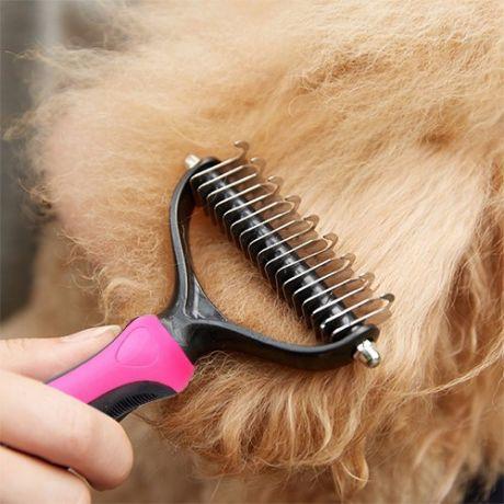 Колтунорез для собак Dematting Comb 11 загнутых зубцов, 17х7 см