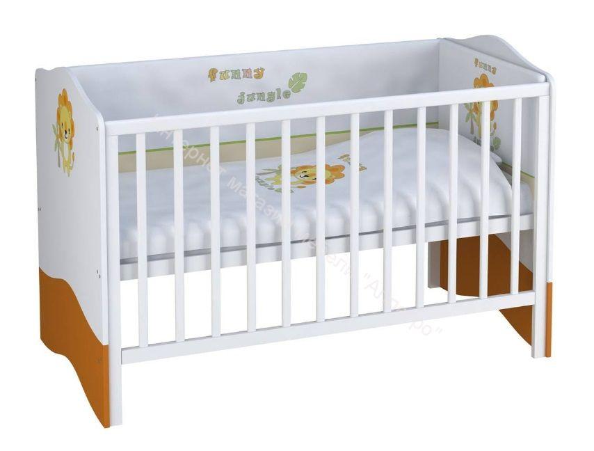 Кроватка-трансформер Polini Basic Джунгли 700*1400