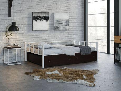 Односпальная кровать Арга 120 Белый ящики