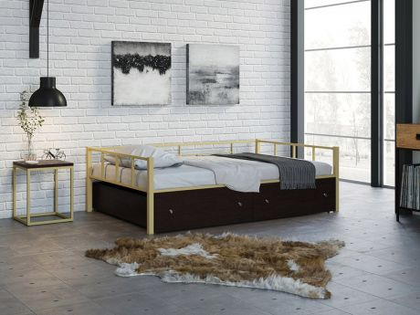 Односпальная кровать Арга 120 Слоновая кость ящики