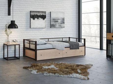 Односпальная кровать Арга Коричневый ящики