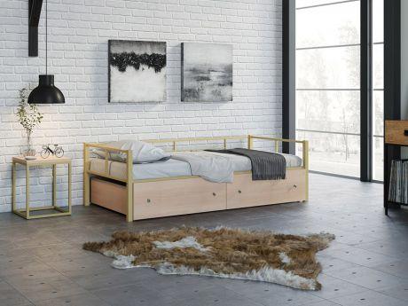 Односпальная кровать Арга Слоновая кость ящики