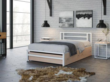 Односпальная кровать Титан 120 Белый ящики