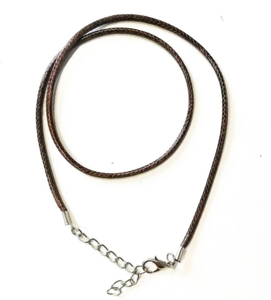 Шнур вощеный текстиль на застежке коричневый фото