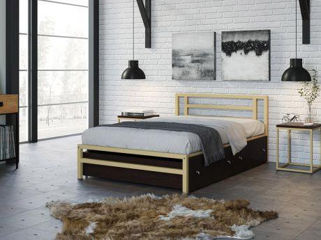Односпальная кровать Титан 120 Слоновая кость ящики