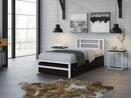 Односпальная кровать Титан 90 Белый ящики