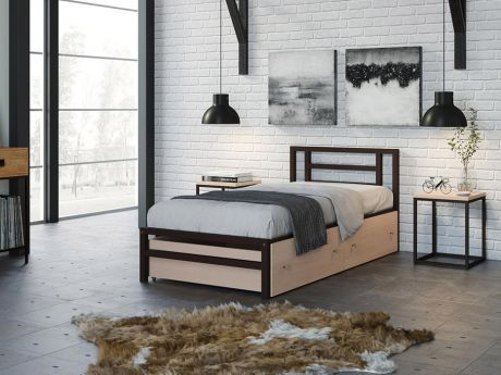 Односпальная кровать Титан 90 Коричневый ящики