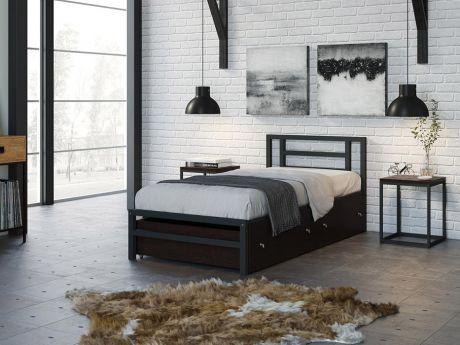 Односпальная кровать Титан 90 Серый ящики