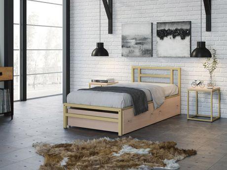 Односпальная кровать Титан 90 Слоновая кость ящики