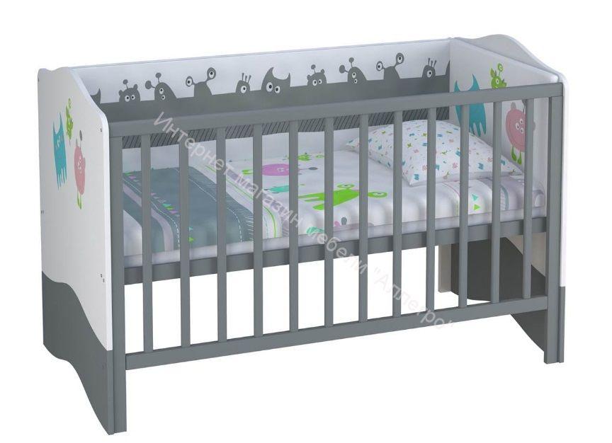 Кроватка-трансформер Polini Basic Монстрики 700*1400
