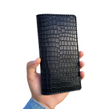 """Кожаный портмоне-лонгер """" Крокодил"""" черный"""