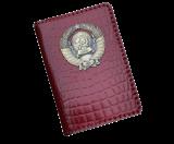 Кожаная обложка на паспорт с гербом СССР красная