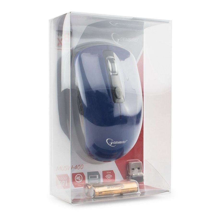 Беспроводная мышь Gembird MUSW-400-B, 2.4ГГц, синий, бесшумный клик