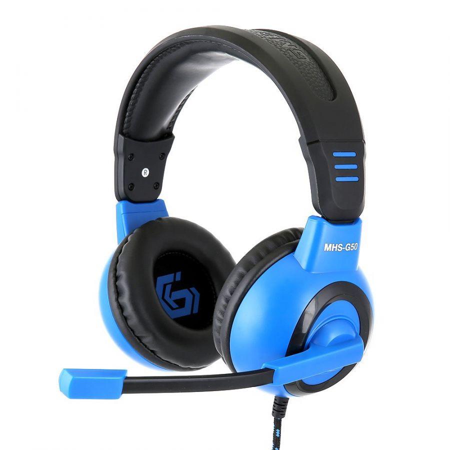 Наушники мониторные игровые - гарнитура Gembird MHS-G50  отключение микрофона, кабель тканевый 2.5м