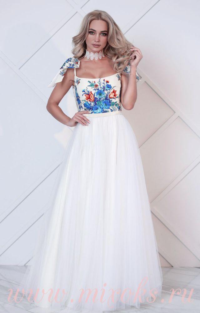 Платье свадебное в пол Гжель