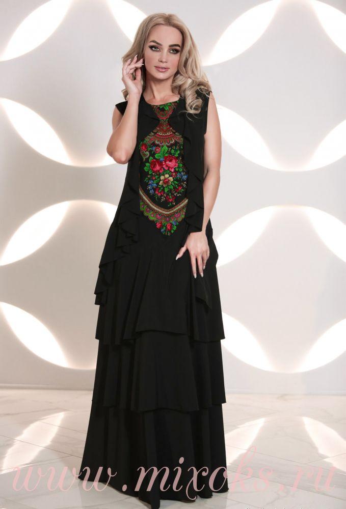 Платье бохо черное с узором