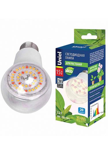 Лампа светодиодная для растений Uniel E27 15W прозрачная LED-A60-15W/SPFB/E27/CL PLP30WH