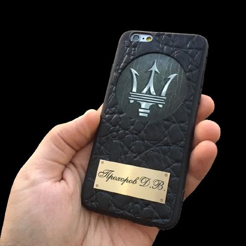 Кожаный чехол-накладка  с логотипом «Maserati» на телефон