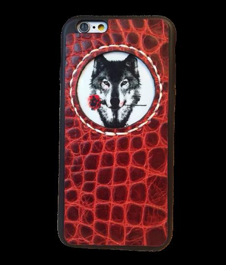 Кожаный чехол-накладка  «Волк с розой» красный на телефон