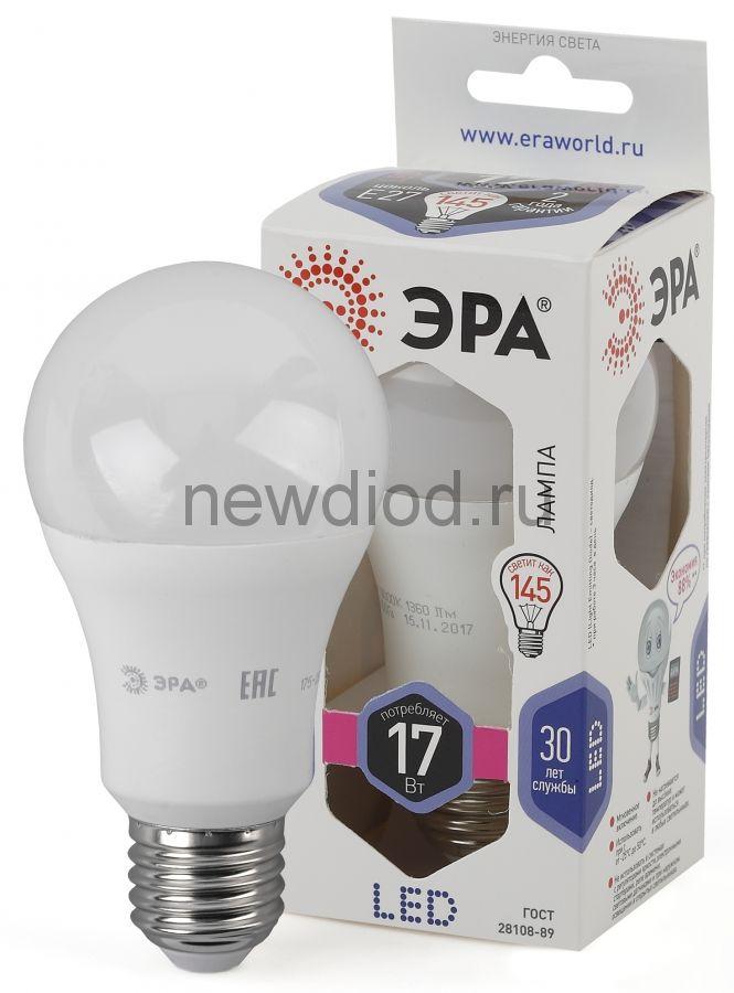 Лампы СВЕТОДИОДНЫЕ СТАНДАРТ LED A60-17W-860-E27  ЭРА (диод, груша, 17Вт, хол, E27),