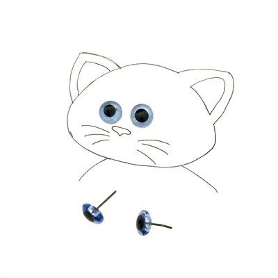 Глазки стеклянные для игрушек, установочные, диаметр 10 мм.  (2652)