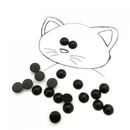 фото Глазки не клеевые пластиковые, цвет черный, диаметр 10 мм (25521)