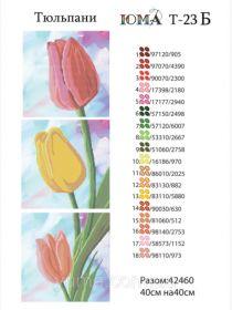 ЮМА ЮМА-Т-23б Тюльпаны схема для вышивки бисером купить оптом в магазине Золотая Игла - вышивка бисером