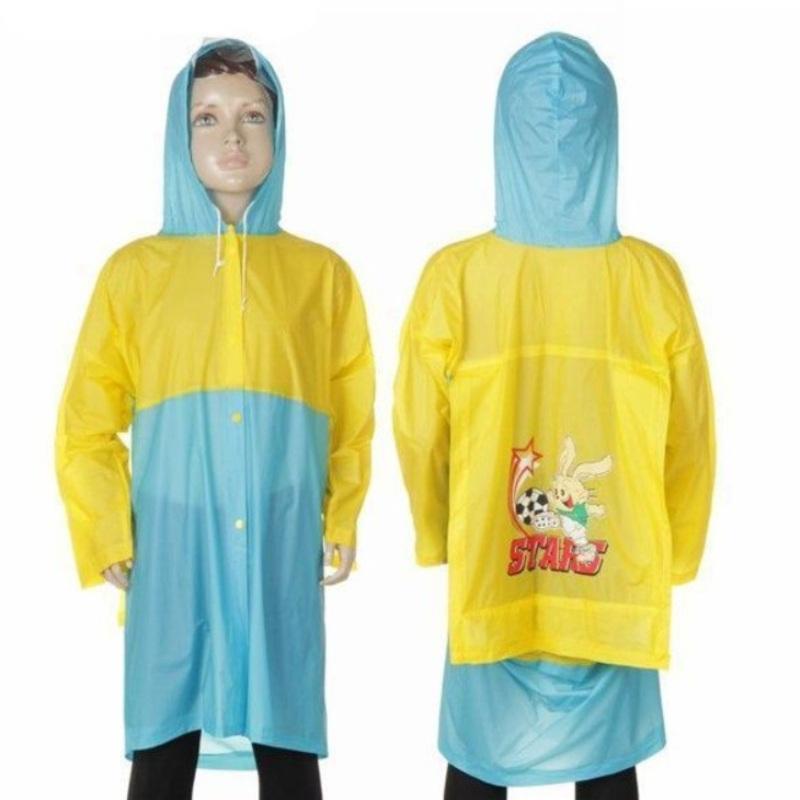 Виниловый плащ-дождевик для детей с отделением для рюкзака, Желто-Синий
