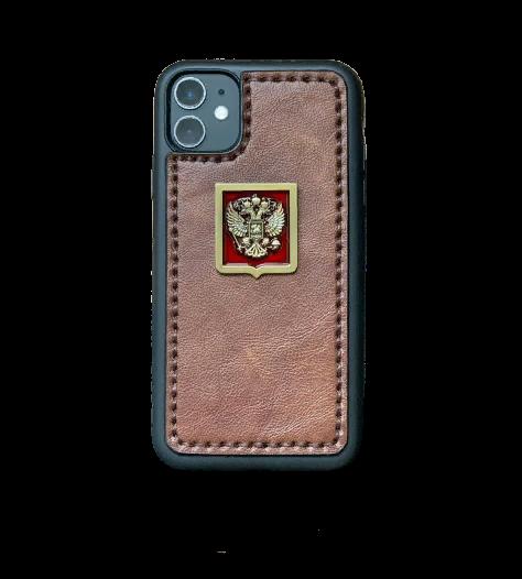 Кожаный чехол-накладка с гербом РФ на красном фоне для телефона