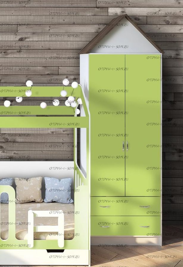 Шкаф 2-дверный Фанки Кидз Домик (75х52х240)