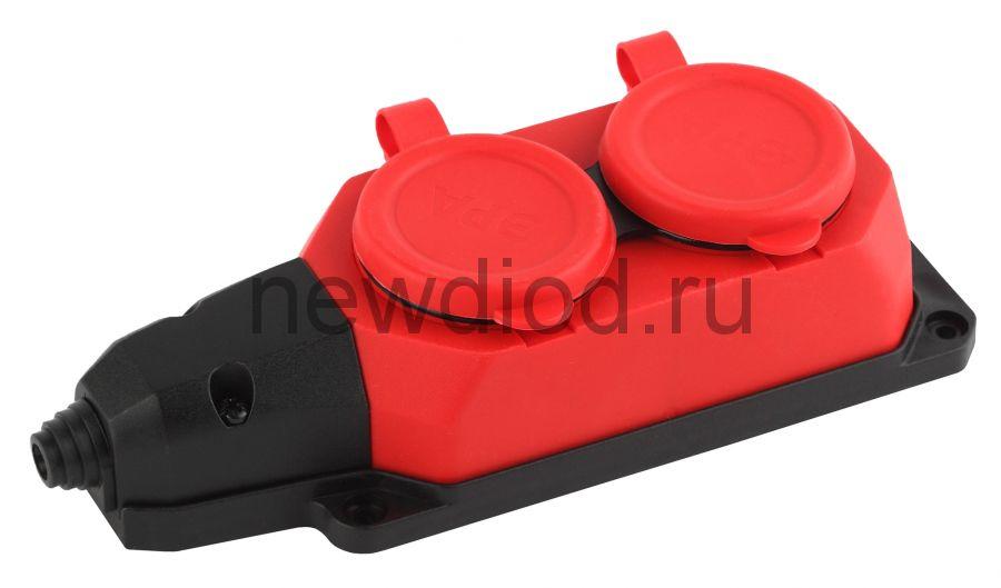 K-2e-RED-IP44  ЭРА Колодка каучуковая с/з 2гн 16A IP44 красная