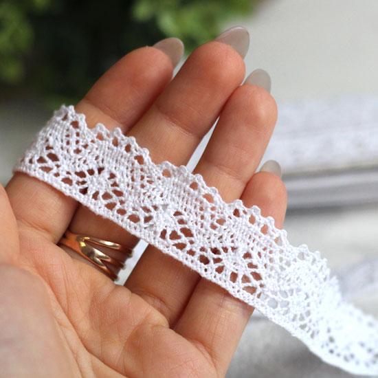 Тесьма вязанная кружевная - Белая, 2 см