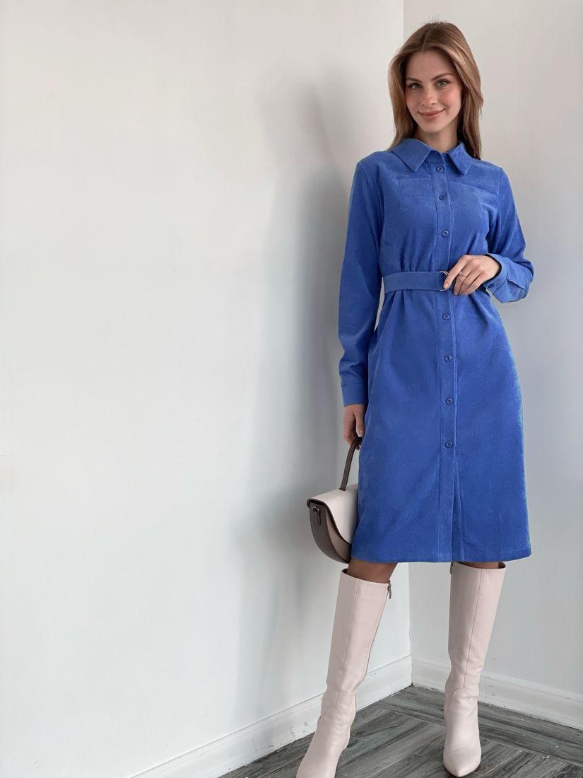 3676 Платье-рубашка из хлопкового вельвета голубое