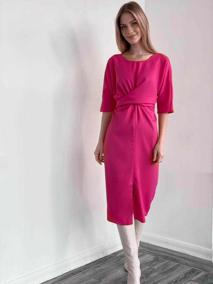 s3680 Платье с перекрутами розовое