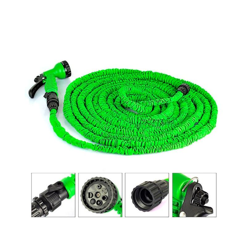 Стрейч шланг для полива XHose (Икс Хоз) с распылителем, Зеленый 45 м