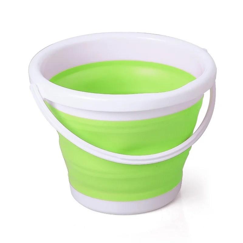 Ведро складное силиконовое Зеленое, 5 литров