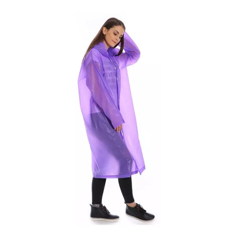 Виниловый плащ-дождевик для взрослых, Фиолетовый