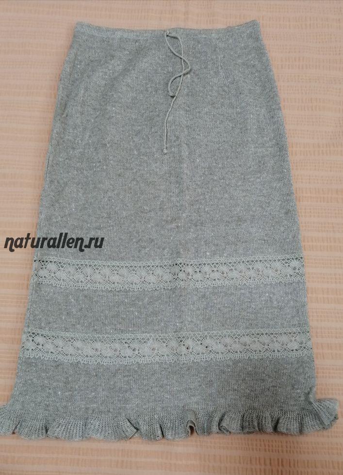 Трикотажная льняная юбка с вставками