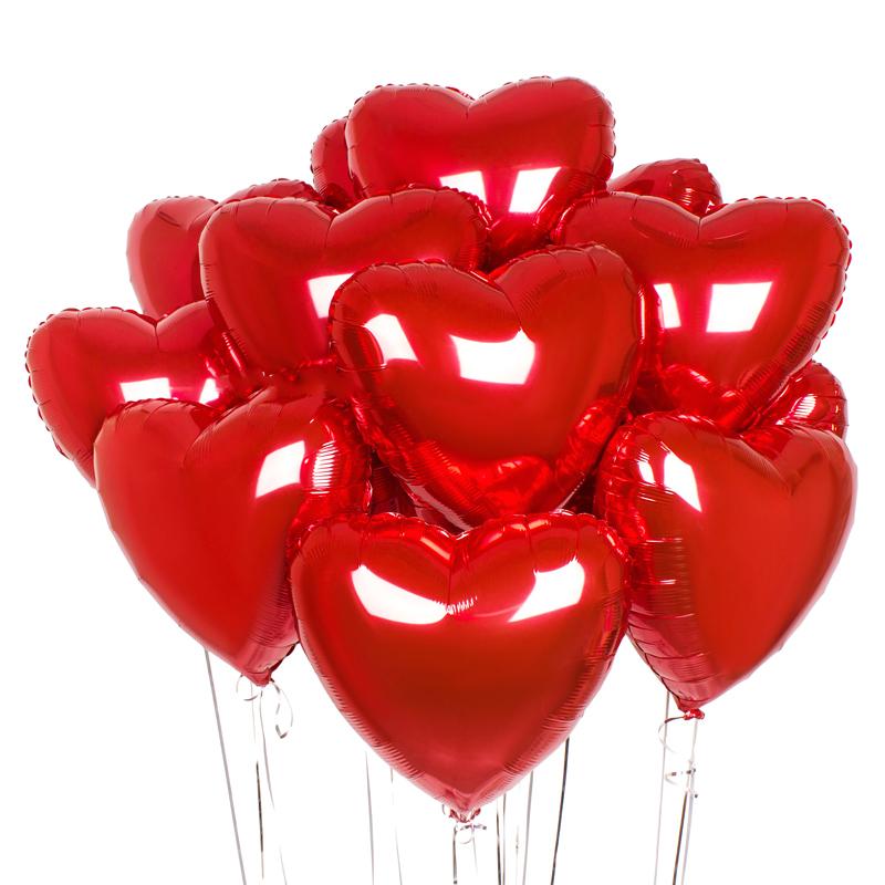 10 шаров сердечек красных