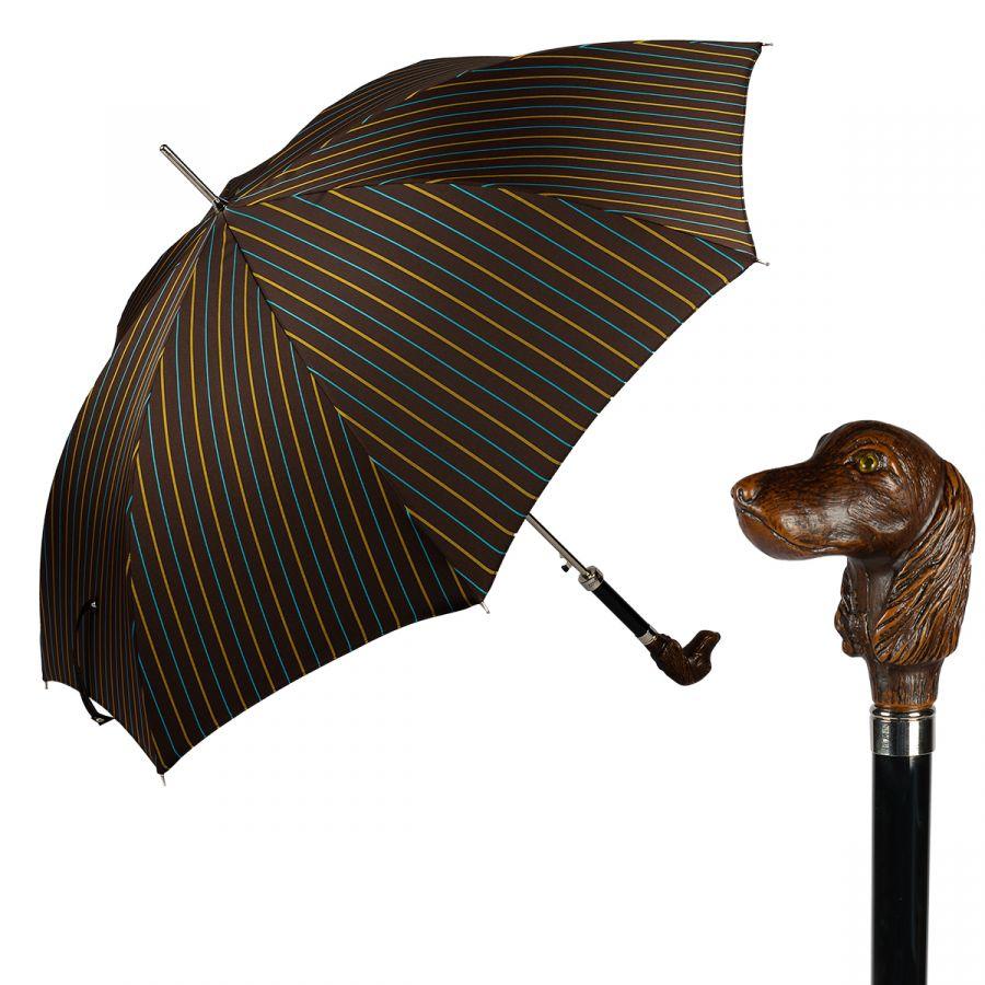 Зонт-трость Pasotti Bassotto StripesM Marrone
