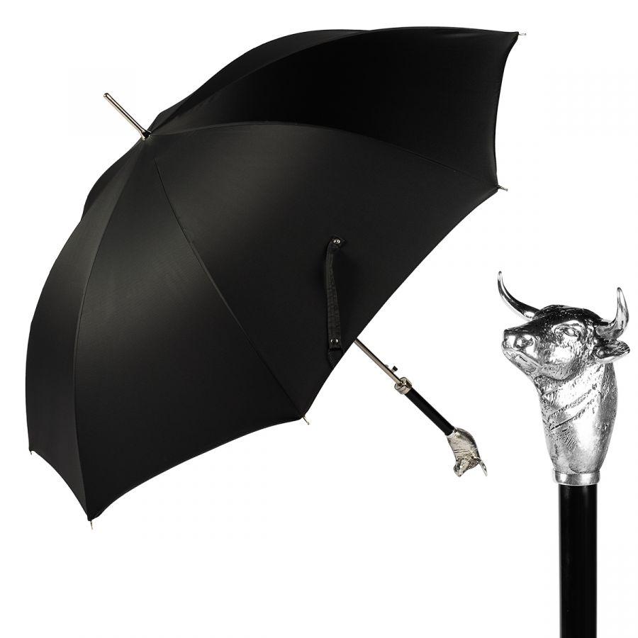 Зонт-трость Pasotti Toro Silver Oxford Black